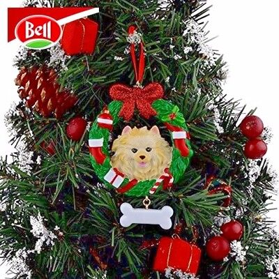 Pomeranian Wreath Personalized Dog Christmas Ornament FREE Shipping
