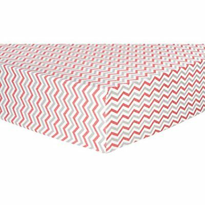 Trend Lab Chevron Deluxe Flannel Fitted Crib Sheet Coral and Gray