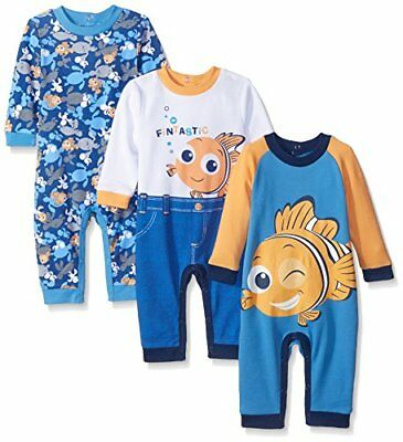 Disney Baby Finding Nemo Coveralls Blue 9 Months Pack of 3