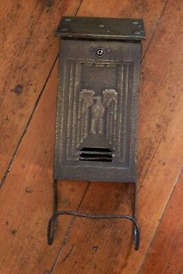 Vintage mid century metal mailbox with eagle and newspaper holder