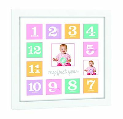 Tiny Ideas Baby's First Year Keepsake Picture Photo Frame Pink/Purple