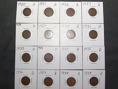 1920-1939 Small Cent lot of 16. (A)