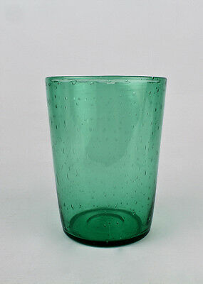 Vintage Pairpoint Green Glass Beaker Form Vase Controlled Internal Bubbles - GL