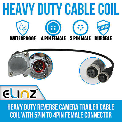 Heavy Duty Reverse Camera Trailer Cable Coil with 5PIN to 4PIN Female Connector