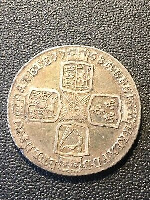 George Ii  Silver  Shilling  Coin Dated 1758