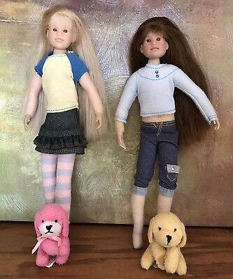 """Lot of 4 ~ 2 """"Only Hearts Club"""" 2004 Dolls  and 2 """"Only Hearts"""" Pet Dogs VGUC"""