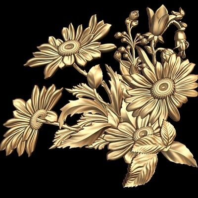 (851) STL Model Flower Decor for CNC Router 3D Printer  Artcam Aspire Bas Relief