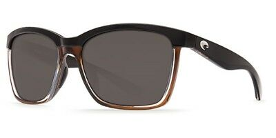 Costa Del Mar Sunglasses 580P Anaa Shiny Shiny Black Brown Gray Ana 107 Ogp Med