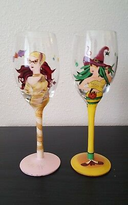 "Set of 2 Handpainted 8"" Halloween Champagne Flutes*EUC"