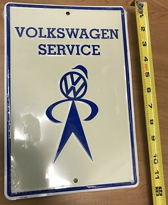 Volkswagen Service Metal Embossed Sign with Mr Bubblehead Rare & Discontinued VW