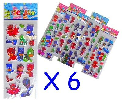 PJ Masks Sticker Sheet x 6 Goodie Loot Party Bag Filler Stickers Decoration