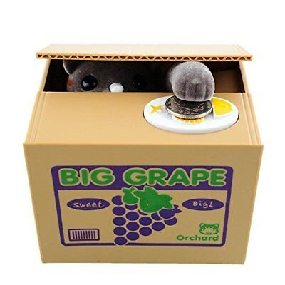 Funny Cat Stealing Coin to Money Grapes Box Kitty Bank Home Decor Gift US Seller