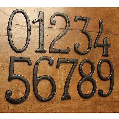 """6"""" Cast Iron House Numbers Door Numerals Address Antique Traditional Style Black"""