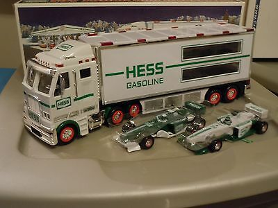 Hess Toy Truck and Race Cars green