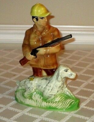"Vintage 1973-Hunter & Gun Pointer Dog-Decanter-China-Ezra Brooks-12""-Empty"