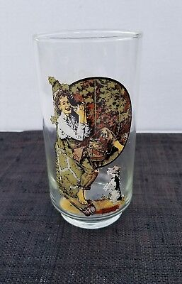 Norman Rockwell Coca-Cola Drinking Glass Tumbler Farm boy with Dog Glassware