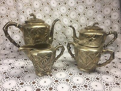 Yuchang Sterling Teapot Coffee Pot Cream & Sugar Bamboo Vintage Silver Set