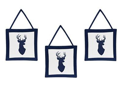 Sweet Jojo Designs Navy and White Woodland Deer Boys Wall Hanging Accessories
