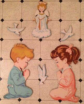 Vintage 1950's nursery boy and girl kneeling wall hanging Dolly Co, angel, doves