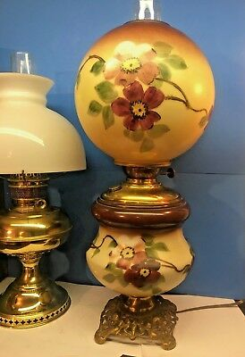 Antique Hurricane Parlor Lamp Once Kerosene Now Electric Hand Painted