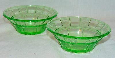 "2 Jeannette DORIC GREEN *4 1/2"" BERRY BOWLS*"