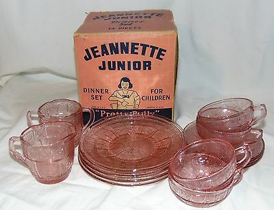 Jeannette Jr PRETTY POLLY* DORIC & PANSY PINK *14 pc CHILD'S DINNER SET* w/ BOX