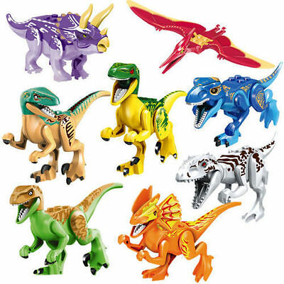 8 Sets Jurassic World Dinosaurs Mini Figures Building Toys Fit Lego K55