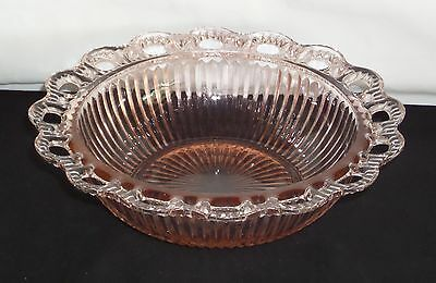 """Anchor Hocking LACE EDGE/OLD COLONY PINK *9 1/2"""" RIBBED BOWL*"""