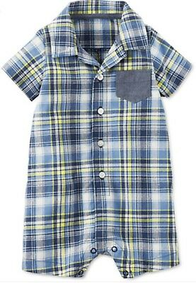 carter's plaid and chambray romper