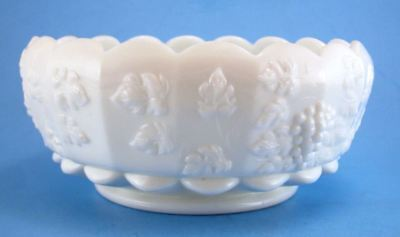 Westmoreland Paneled Grape Milk Glass Cupped Scalloped Bowl 8 Inch
