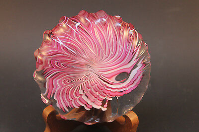 Murano Style Art Glass Paperweight Flower Shape Pink and White Swirel