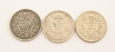 1917-42 India 1/4 Rupee Collection, British India Silver Coins Set, Lot (3)