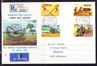 Rhodesia 1968 World Ploughing Contest R2646 First Day Cover to Australia
