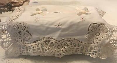 Older White Cotton Embroidered & Pulled Thread Tissue Box Cover NWT