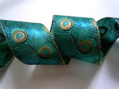 """63MM 2.5"""" Teal Blue Green Peacock Feathers Wedding Christmas Wreath Make Bows"""