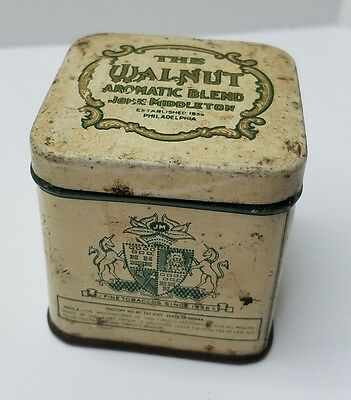 Vintage John Middleton Walnut Tobacco Tin Philadelphia