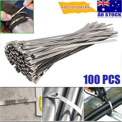 100X 4.6x200mm Strong Stainless Steel Exhaust Wrap Coated Locking Cable Zip Ties