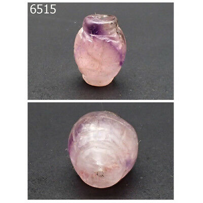 Very Old Natural BiColor Amethyst Hand Carved Purple Collared Bead #6515