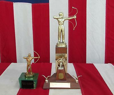Vintage 1950s Archery Competition Award Trophy Pair South Mountain Bow Hunters