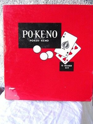 Po-Ke-No : POKENO - Poker Keno Vintage Card Game = 12 Boards &  Assorted Chips