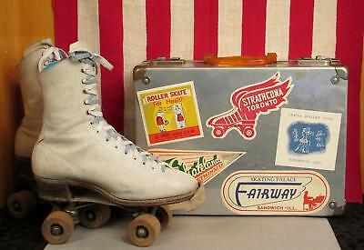 Vintage Hyde Chicago White Leather Rollerskates & Case w/Rink Sticker Collection