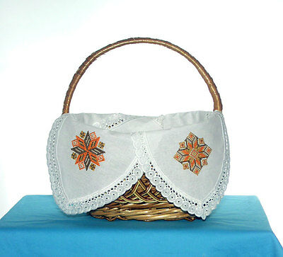 Four Corner Braun basket  machine Embroidery Linen cover decorated with  Lace