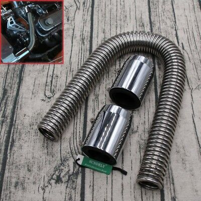 "Universal 24"" Stainless Steel Radiator Flexible Coolant Water Hose Kit With Caps"