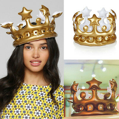 Inflatable Gold Crown King Queen Day Halloween Party Decor Children Headdress