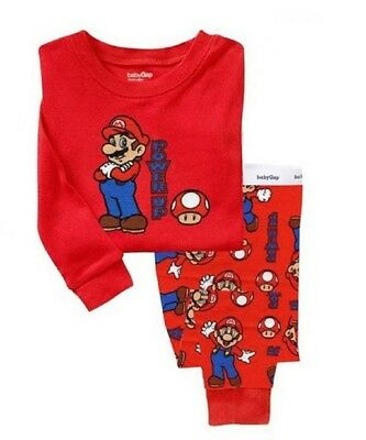 Kids boys baby super mario pajamas 3T red sleepwear nightwear Long-sleeved pants