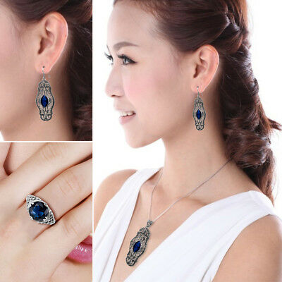 Hollow 925 Sterling Silver Ring Earring Pendant Chain Women Blue Antique Rings