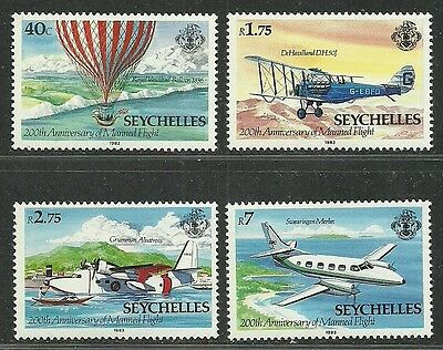 Seychelles 1983 Very Fine MNH Stamps Scott # 519-522 CV 3.00 $ Flight History