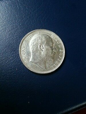 Edward Vii King & Emperor 1907 Indian One Rupee  Silve Coin Series.