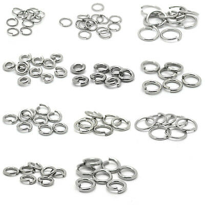 1000PCs Silver Stainless Steel Open Jump Rings Jewelry Making Finding 4mm-13mm