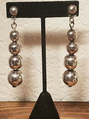 Vintage Mexican Sterling polished round graduated bead long post earrings